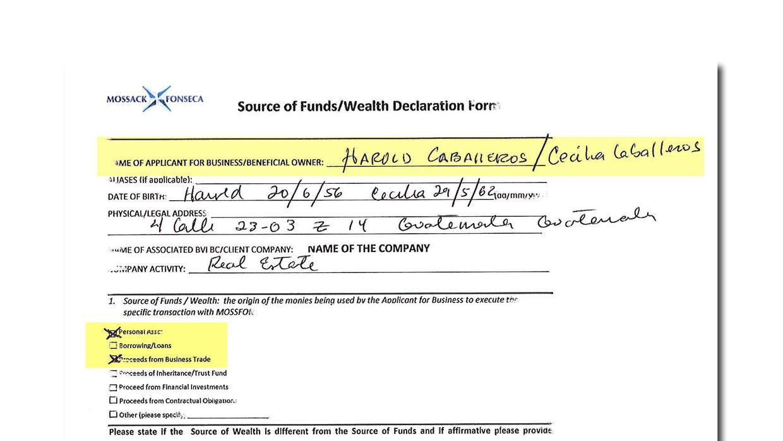 En noviembre de 2014 Harold Caballeros declaró ante Mossack Fonseca que...
