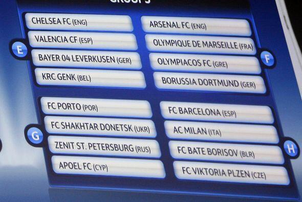 Grupo E: Chelsea, Valencia, Bayer Leverkusen y Genk. Grupo F: Arsenal, O...