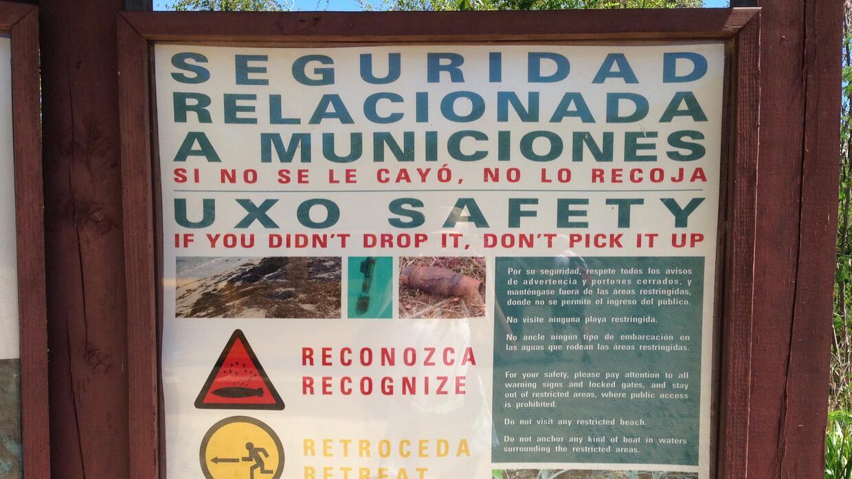 Aviso sobre existencia de explosivos en playas de Vieques