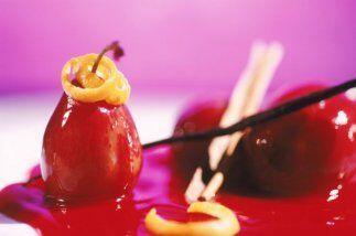 Peras con vino tinto:     *   4 peras     * 10.5 onzas de azúcar     * 4...