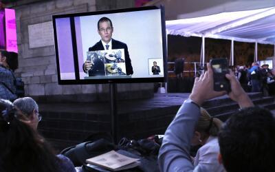 El candidato Ricardo Anaya durante la transmisión del debate pres...