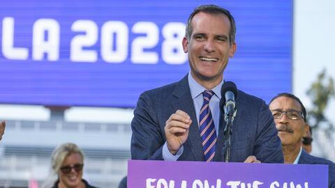 Eric Garcetti, alcalde de Los Angeles, hizo el anuncio del acuerdo.
