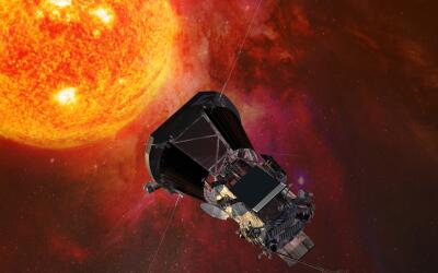 Ilustración de la sonda espacial llegando al Sol.