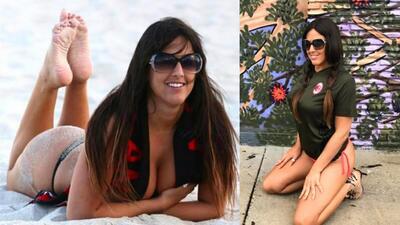 La sensual forma de Claudia Romani para apoyar al Milán de Italia