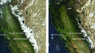 Imágenes satelitales de los años 2010 y 2015 muestran la diferencia en c...