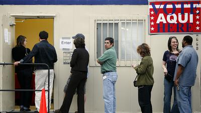 Voters line up to vote in Austin, Texas.