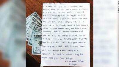 Robó dinero de un restaurante mexicano y 20 años después envió una disculpa y 1,000 dólares de compensación