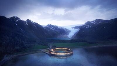 En fotos: El hotel noruego construido sobre un glaciar que promete generar su propia energía