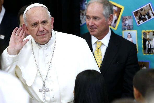 La visita a la escuela de Harlem fue particularmente alegre para el Papa.