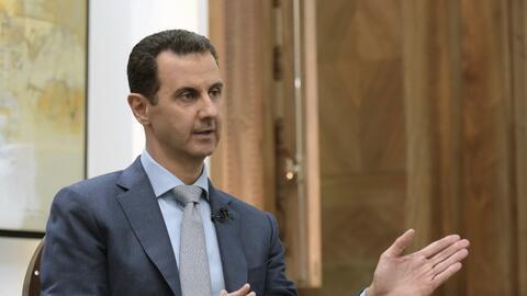 El presidente sirio Bashar Assad en entrevista con Yahoo News en Damasco...