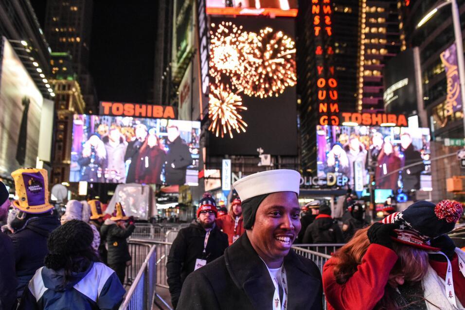 Otra estampa de la celebración del Año Nuevo en el Times Square de Nueva...
