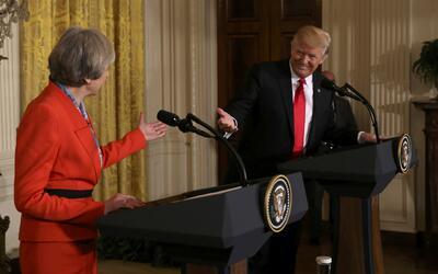 Theresa May y Donald Trump durante la rueda de prensa en la Casa Blanca.