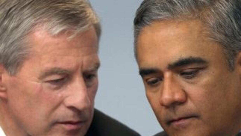 Jürgen Fitschen y Anshu Jain, los dos copresidentes del Deutsche Bank, a...