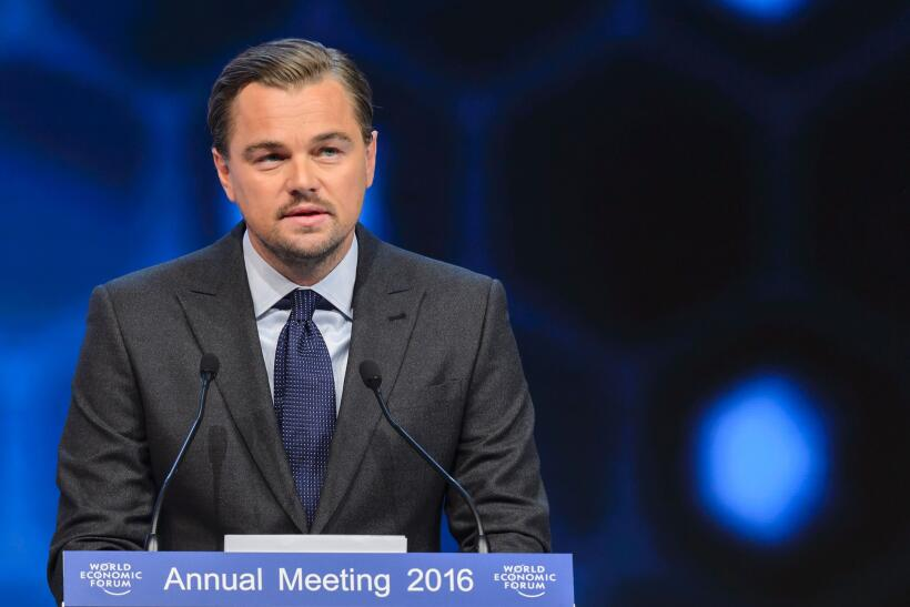 Leonardo DiCaprio durante los premios World Economic Forum's Crystal, en...
