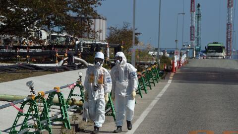 Trabajadores de la central nuclear de Fukushima