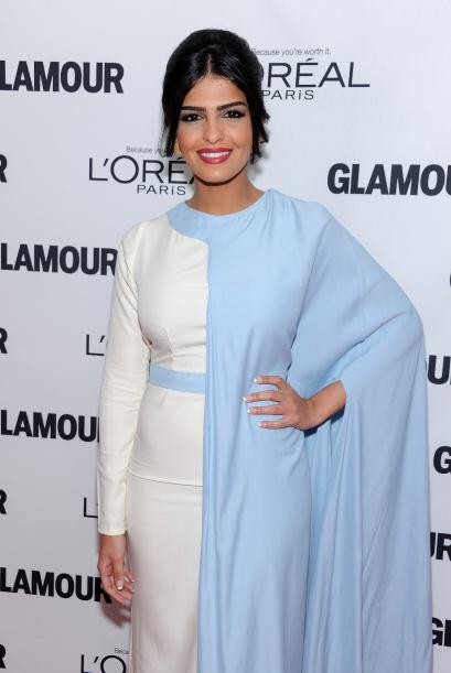 La princesa Ameera al-Taweel llegó vestida con un traje con un corte clá...