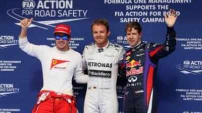 Alonso, Rosberg y Vettel hicieron lo mejores tiempos clasificatorios.