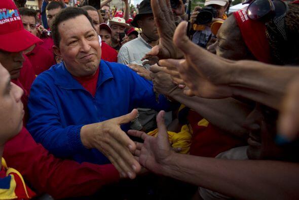 El venezolano Hugo Chávez, que aspira a una cuarta victoria segui...