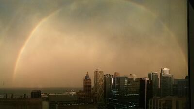 Imágenes del doble arcoiris que se vio en Chicago tras la tormenta
