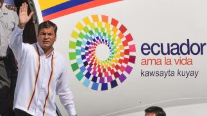 El presidente de Ecuador, Rafael Correa, en su llegada a Venezuela.
