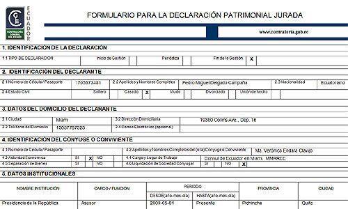 Copia de la Declaración Patrimionial Jurada del Presidente del Ba...