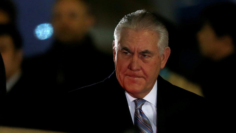 El secretario de Estado, Rex Tillerson, a su llegada al Aeropuerto Inter...