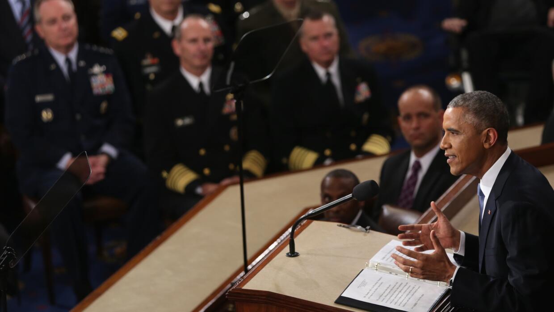 El presidente Barack Obama en el mensaje a la nación de enero de 2015.