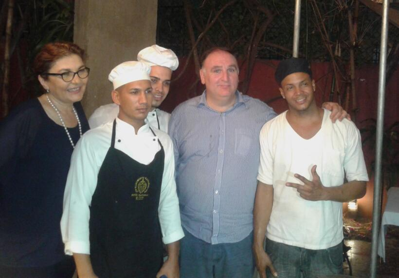 Chef Jose Andres visiting Havana paladar, Casa Pilar, with chefs and own...