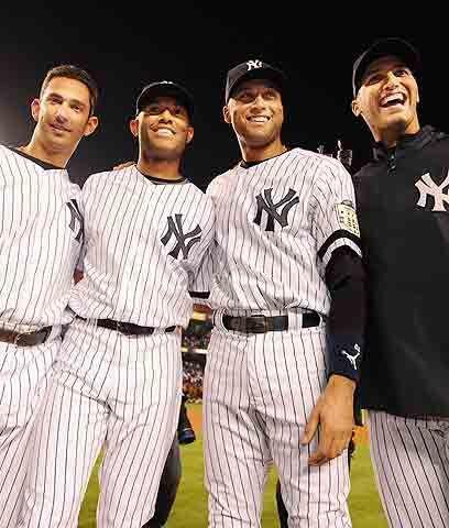 Los cuatro mosqueterosDerek Jeter, Jorge Posada, Mariano Rivera y Andy P...