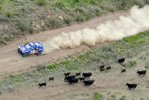 Carlos Sainz, el líder y favorito del Rally Dakar 2011 amplió su ventaja...