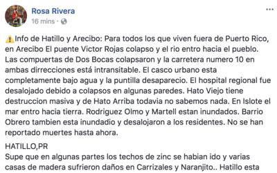 Información sobre Hatillo compartida por una usuaria de Facebook