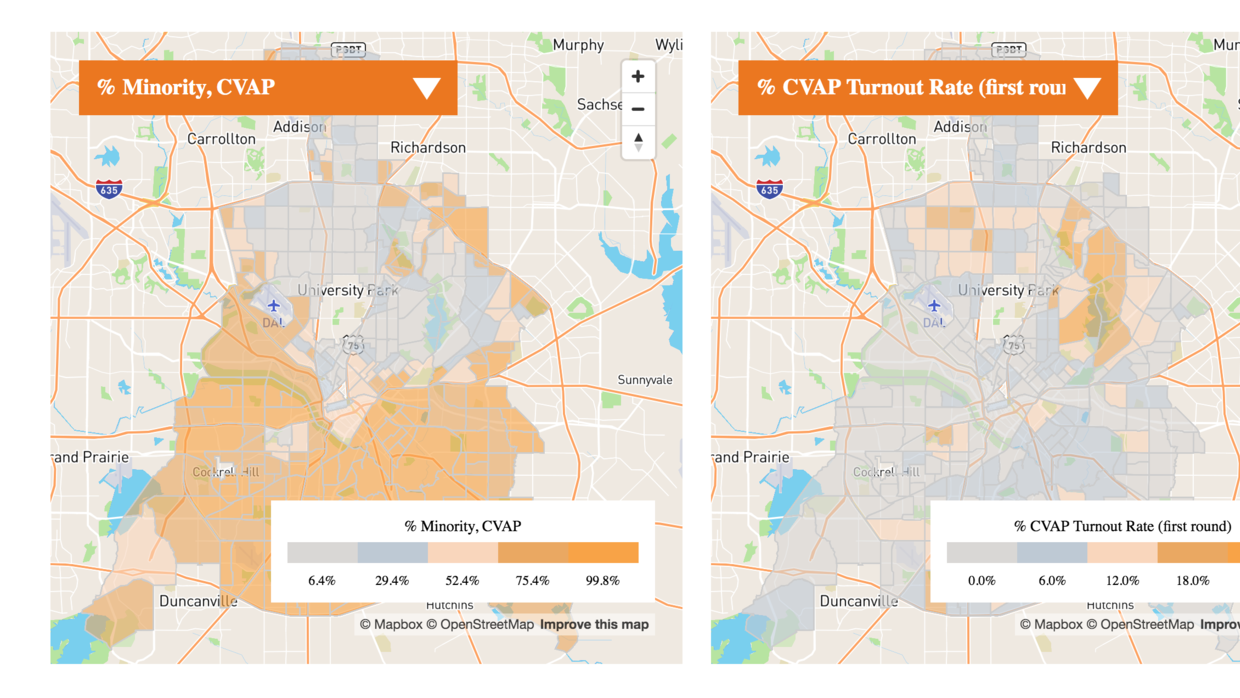 Maps of Dallas showing where minorities live (left) and where turnout fo...