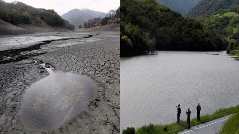 La represa Almaden, ubicada en San José, California, vista en 201...
