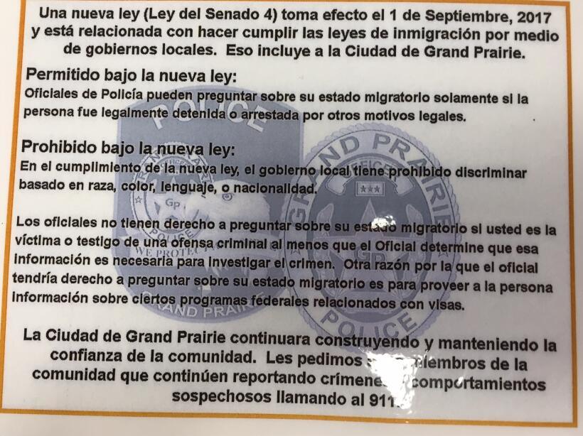 El departamento de la policía de Grand Prairie planea repartir fichas in...
