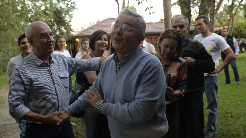 Colombia ex-president Álvaro Uribe celebrates the 'no' victory....