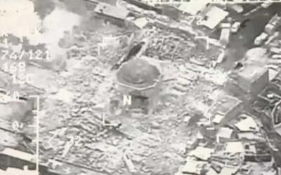 Una captura de un video grabado por el ejército iraquí que...