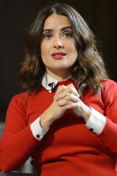 Salma durante su plática en Londres.