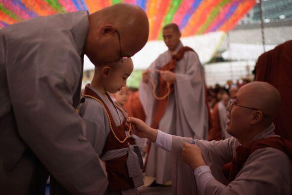 Un joven monje ora después de que le fue afeitada la cabeza en el templo...
