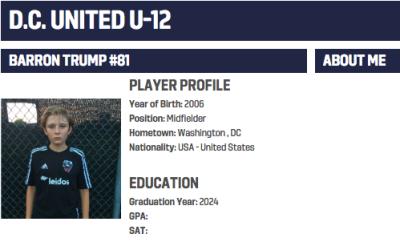 Barron Trump en academia de DC United
