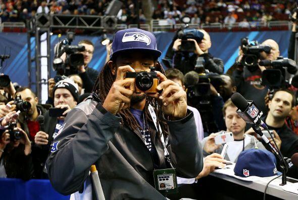 Sherman quiso llevarse la foto del recuerdo de su primer Media Day.