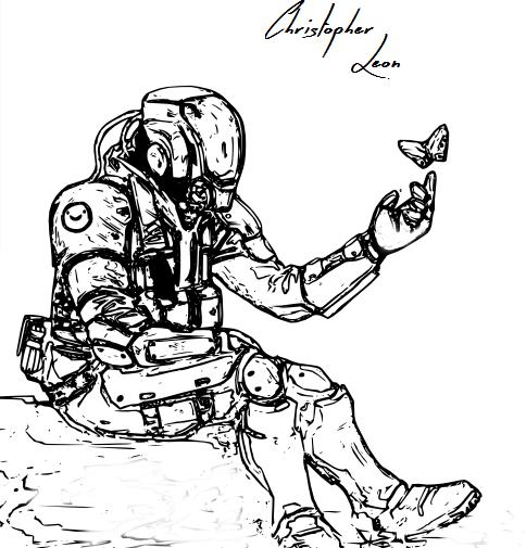 Dibujo de ciencia ficción de Christopher León