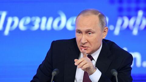 El presidente ruso, Vladimir Putin, en una conferencia de prensa en Mosc...