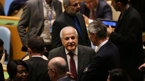 El embajador palestino ante la ONU, Riyad Mansour.