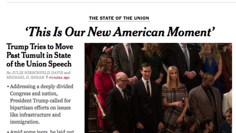 Portada de The New York Times de este martes por la noche.