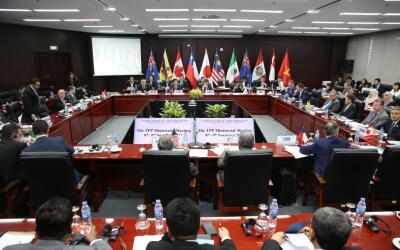 Miembros firmantes del Acuerdo Transpacífico reunidos la semana p...