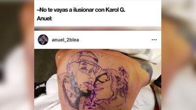 El tatuaje más real hasta la muerte: los memes del arte que Anuel AA hizo en su espalda con la cara de Karol G