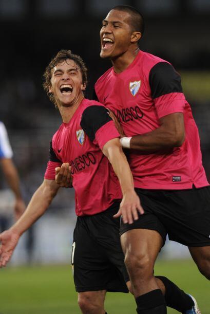 El jugador uruguayo daba el gol de la ventaja al Málaga.