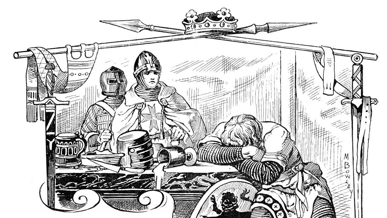 Una escena medieval después de una noche de alcohol en exceso.