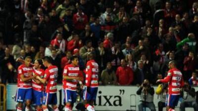 Youssef El-Arabi celebra el gol que fue la estocada para el Villarreal.