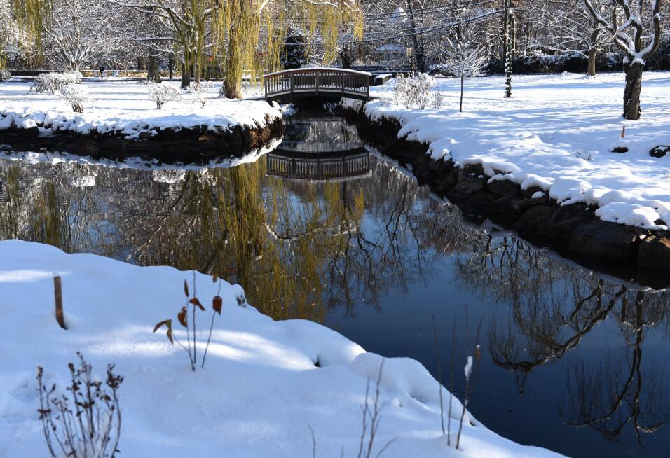 Binney Park, en Connecticut, totalmente cubierto de nieve, tras la &uacu...